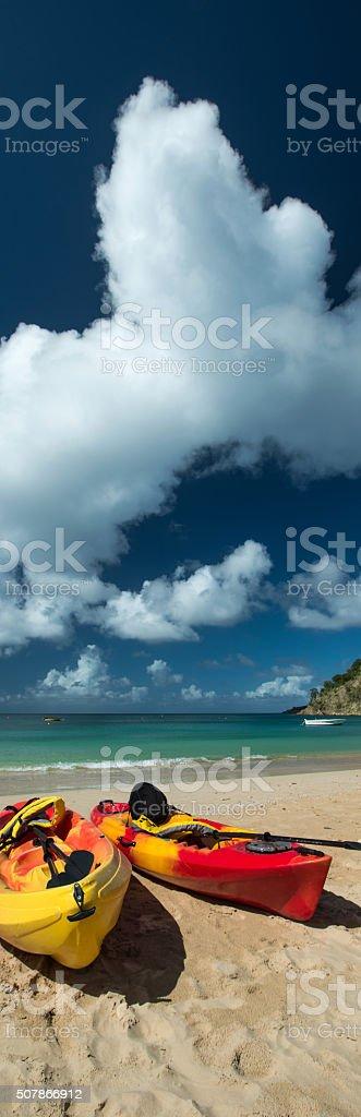 Kayaks in Barnes Bay, Anguilla Island stock photo