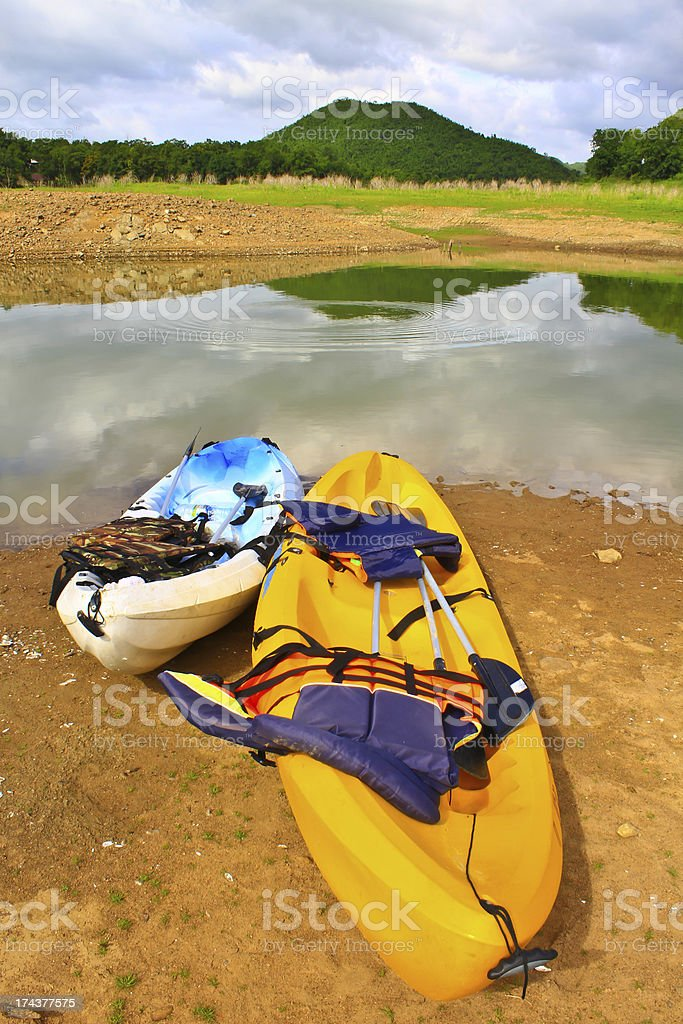 Kayaks in lake royalty-free stock photo