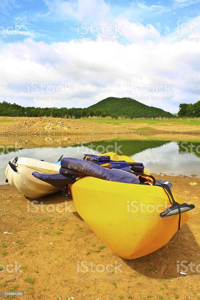 Kayaks in Lake royalty-free stock photo