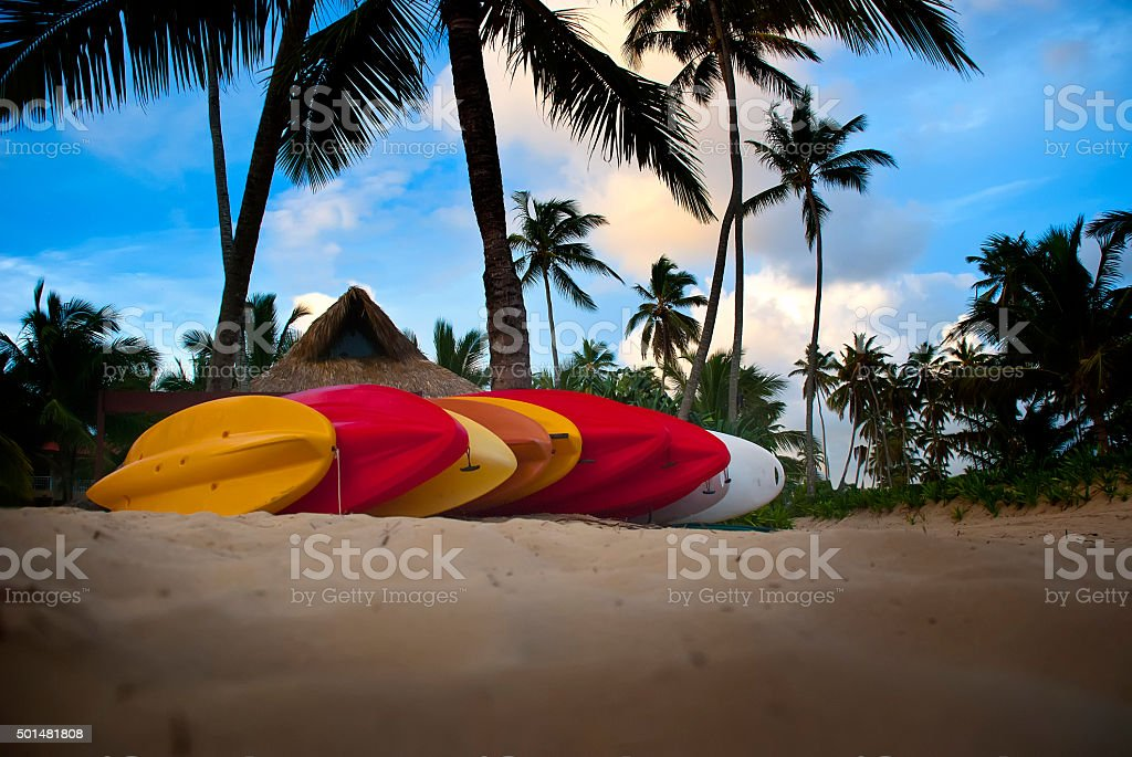Kayaks in Paradise stock photo