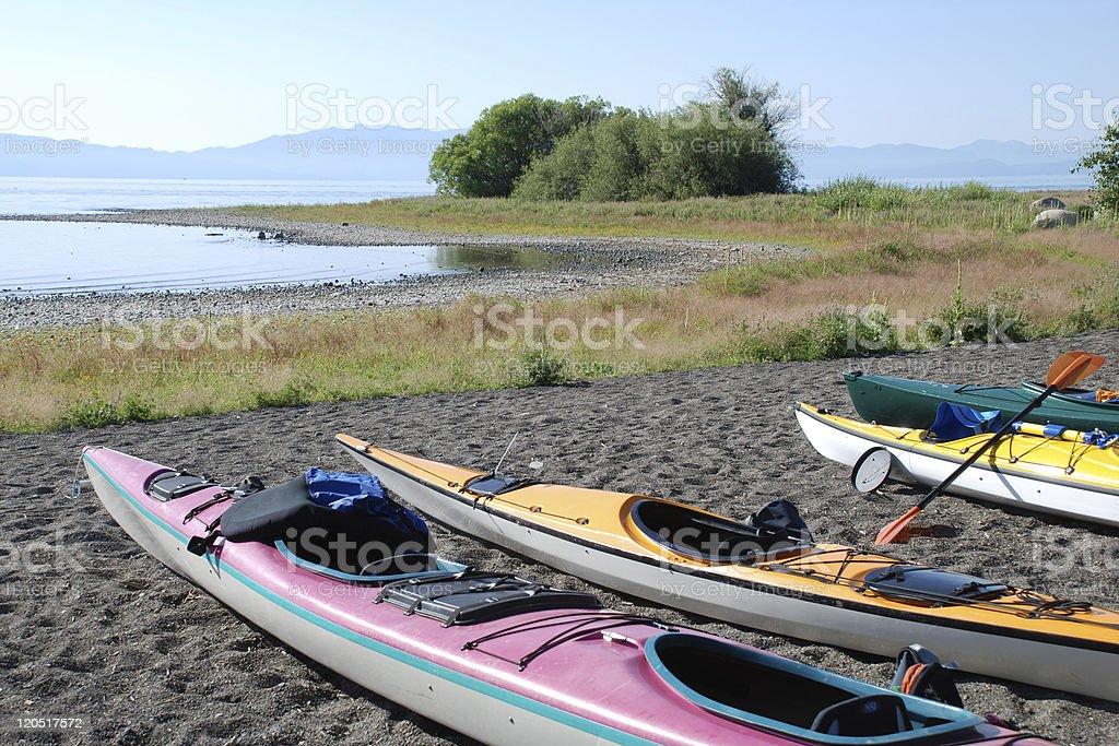 Kayaks on a Beach royalty-free stock photo