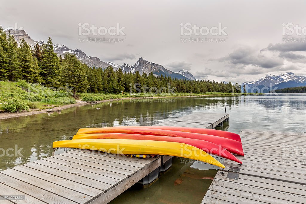 Kayaks on a Dock - Maligne Lake, Canada stock photo