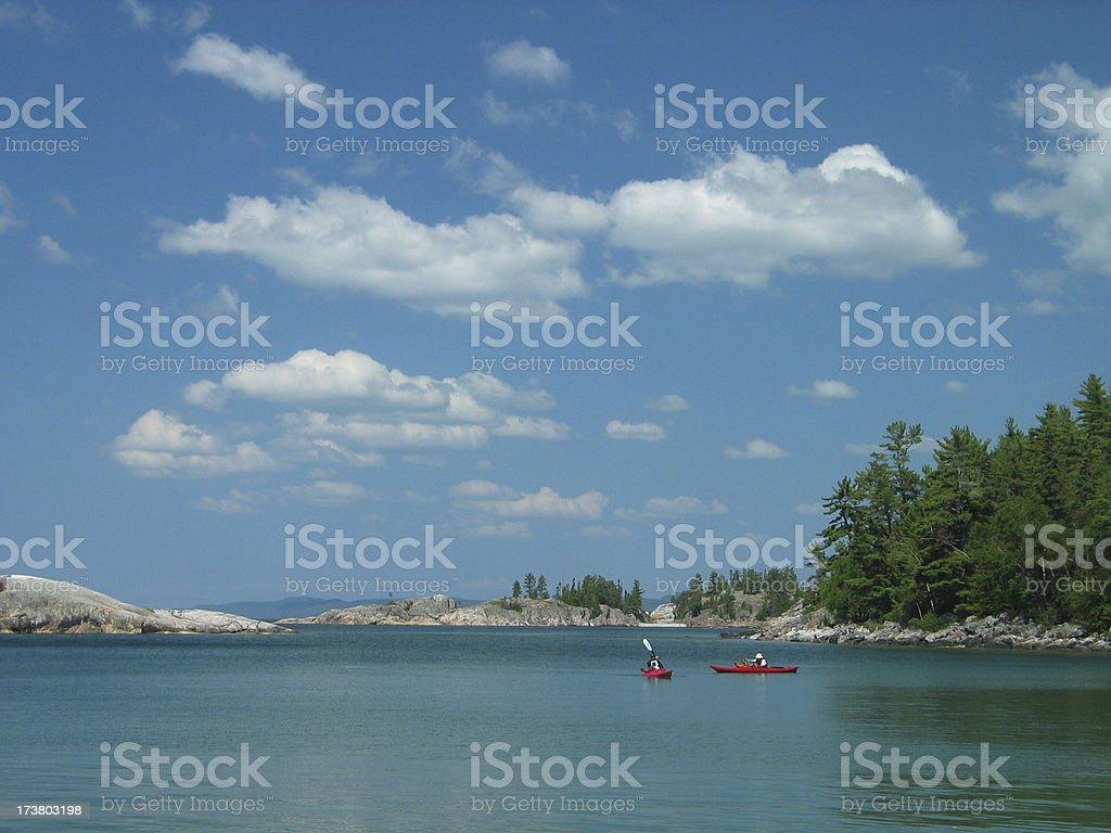Kayaks on Agawa Bay, Lake Superior stock photo