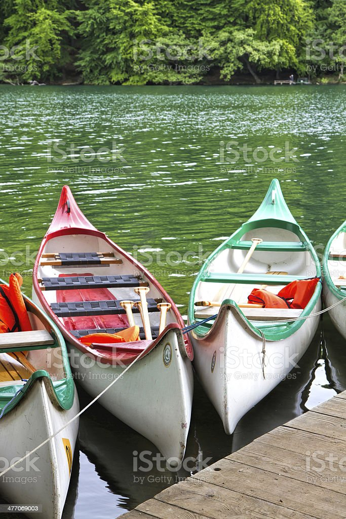 Kayaks on one of the many lakes in East Germany stock photo