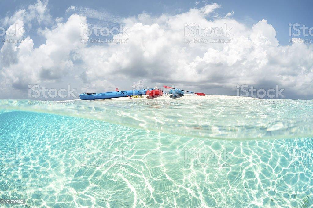 Kayaks on the beach royalty-free stock photo