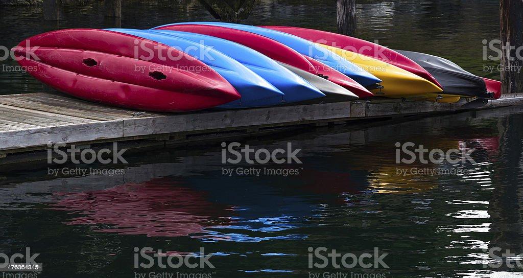 Kayaks on the dock royalty-free stock photo