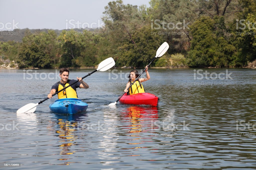 Kayaks On The River stock photo
