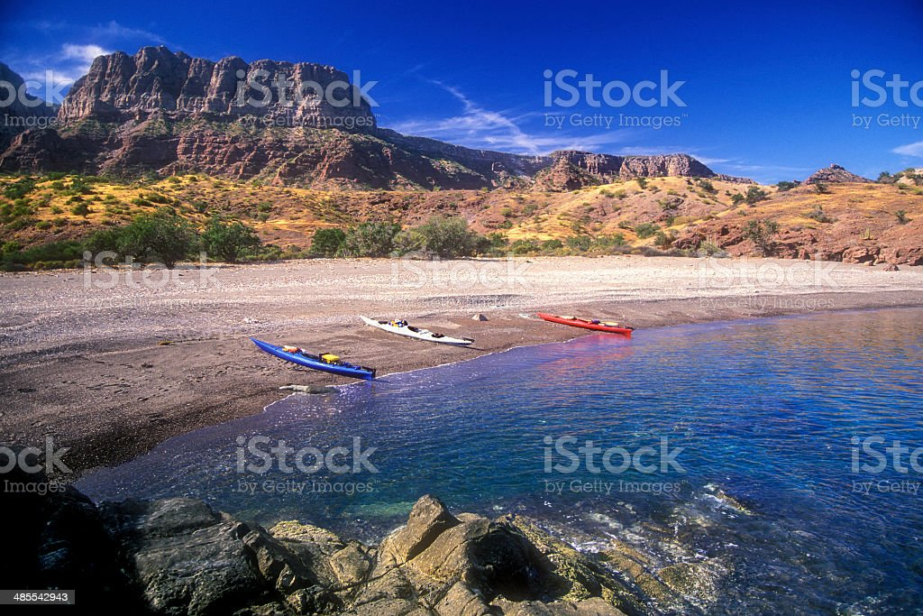 Kayaks Red White and Blue stock photo