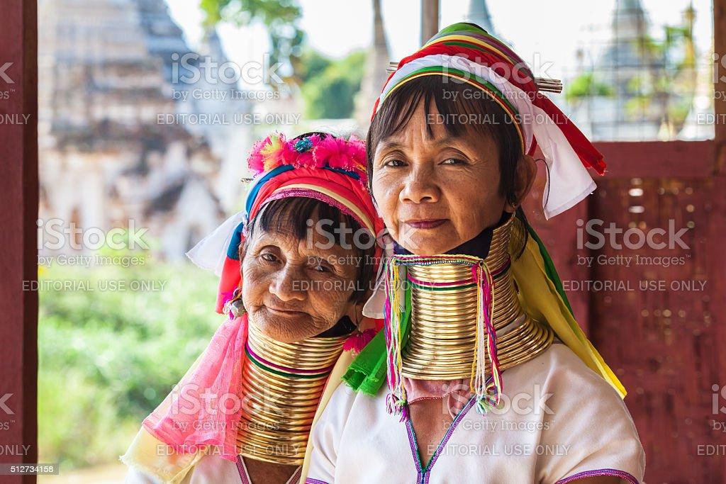 Kayan Lahwi tribe women, Inle Lake stock photo