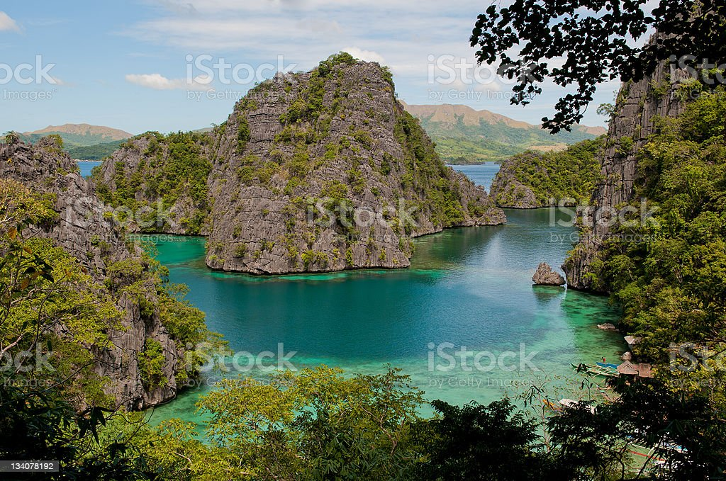 Kayangan lake or blue lagoon, Coron island, Philippines stock photo