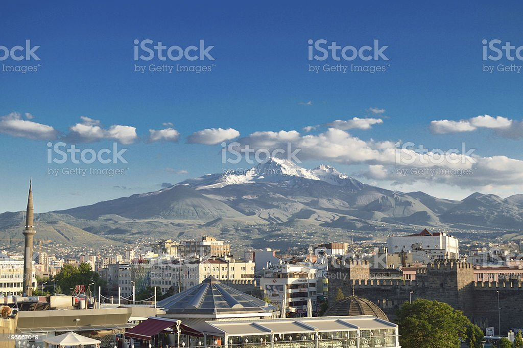 Kayseri city and Erciyes volcano stock photo