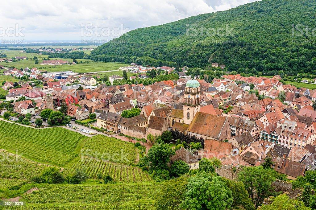 Kaysersberg Castle view of the village stock photo