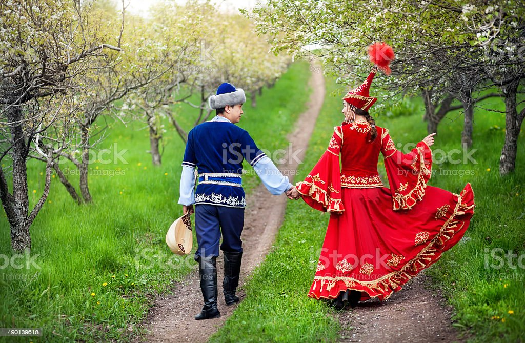 Kazakh couple in love stock photo