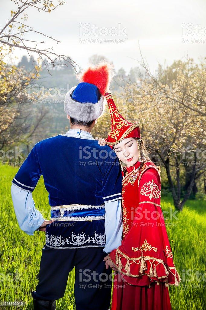 Kazakh couple in love stock photo