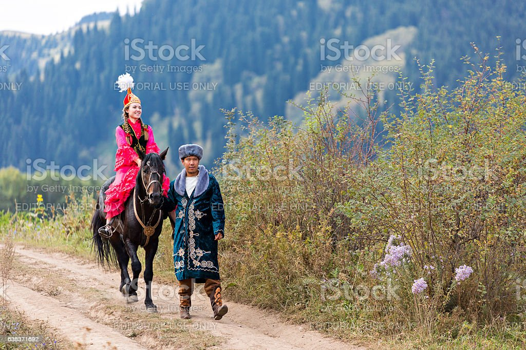 Kazakh couple in national costumes. stock photo