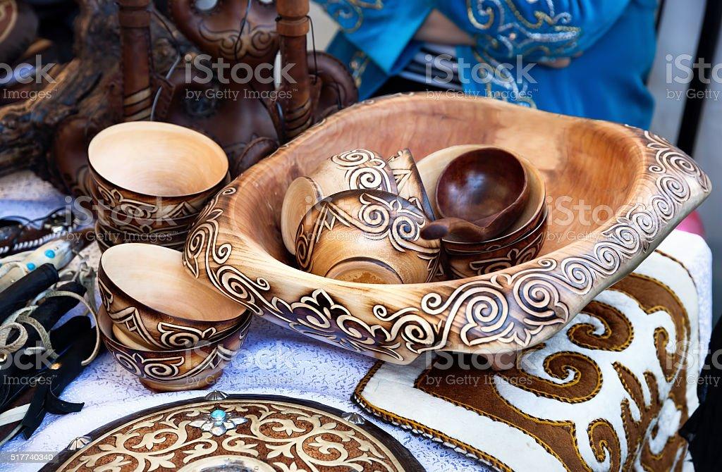 Kazakh ethnic dishes in the market stock photo