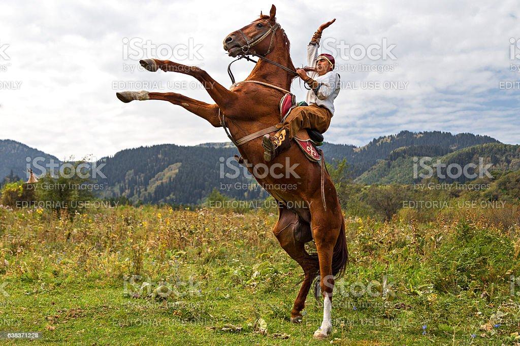 Kazakh horse rider stock photo