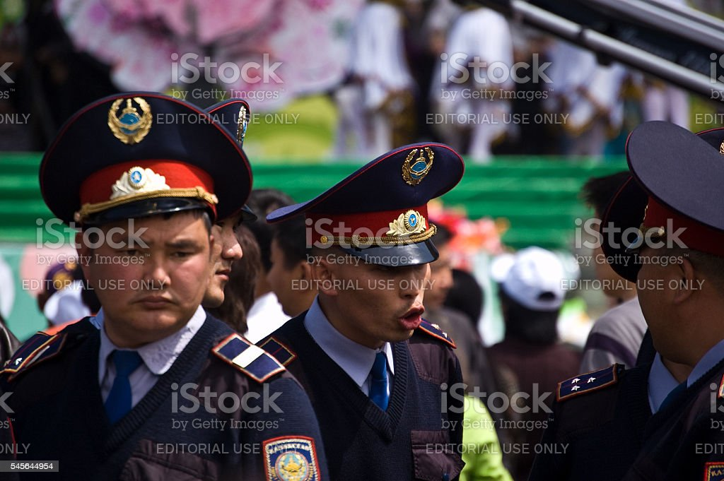 Kazakh Policmen stock photo