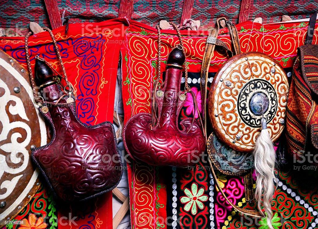 Kazakh yurt interior stock photo