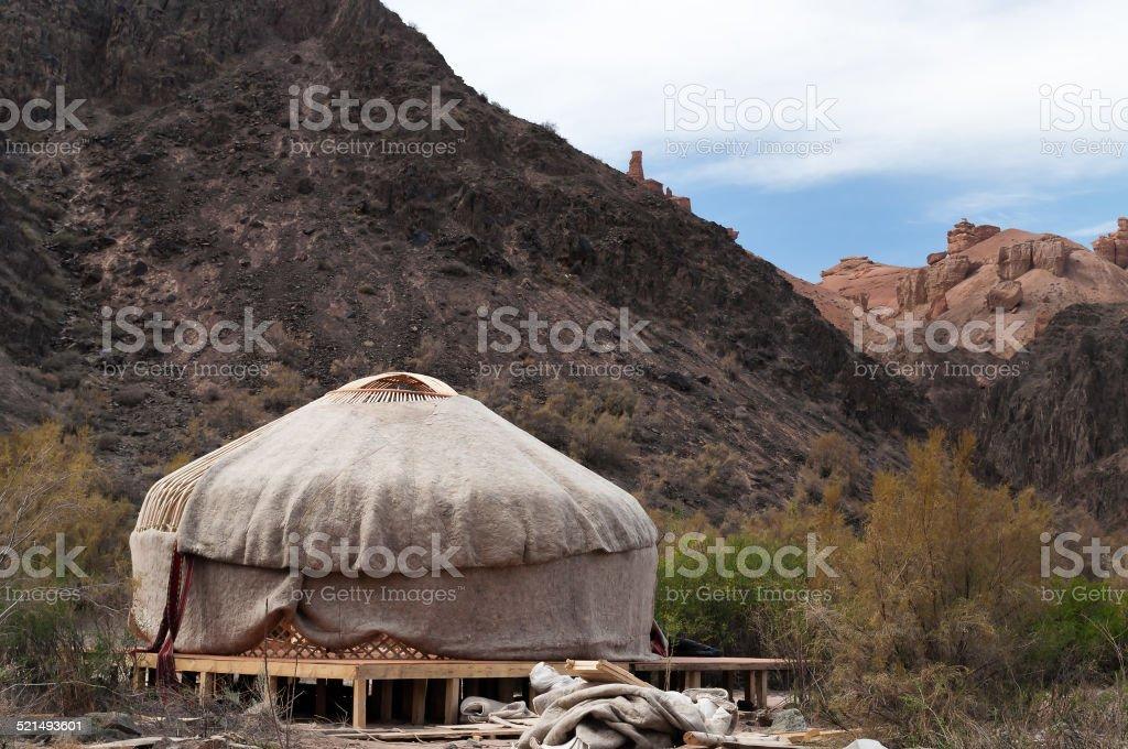 Kazakh yurt stock photo