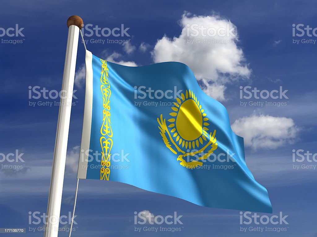 Kazakhstan flag (with clipping path) royalty-free stock photo