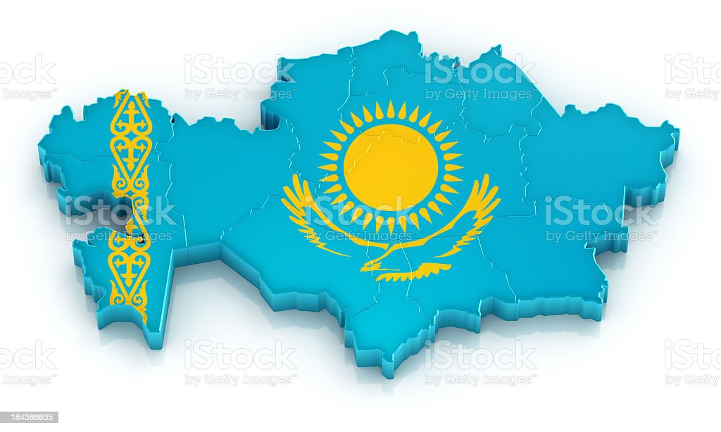 Kazakhstan map with flag royalty-free stock photo