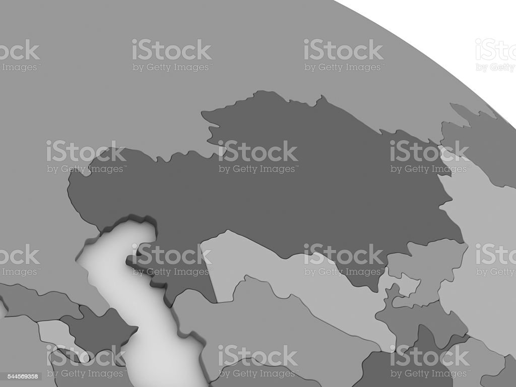 Kazakhstan on grey 3D map stock photo