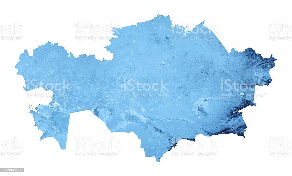 Kazakhstan Topographic Map Isolated royalty-free stock photo