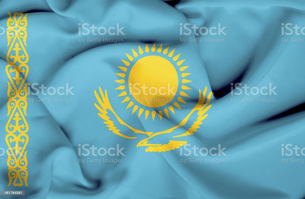 Kazakhstan waving flag stock photo