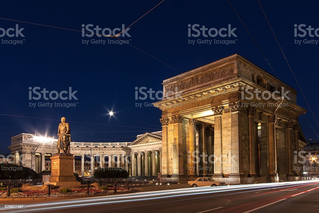 Kazan Cathedral at night stock photo