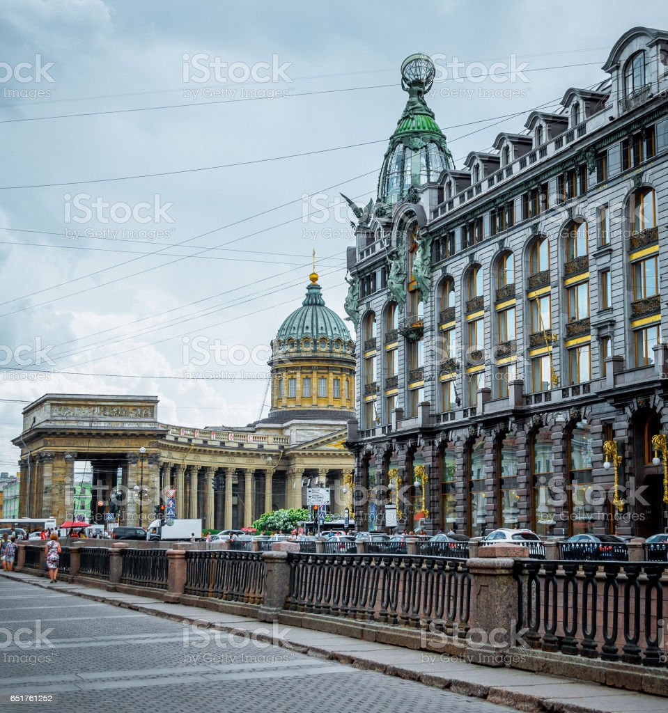 Kazan Cathedral Church and Singer's House in St. Petersburg at the Griboedov Canal stock photo