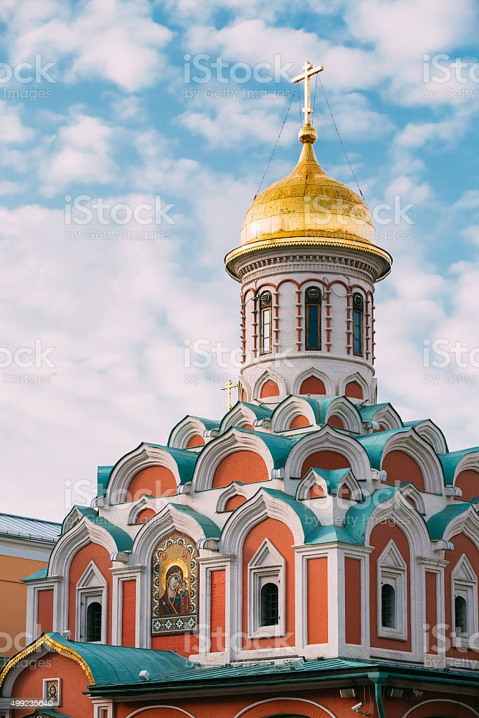 Kazan Cathedral in Moscow, Russia stock photo