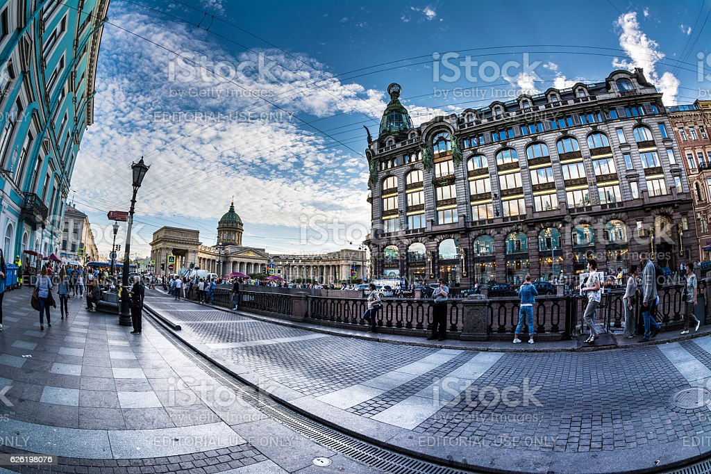Kazan Cathedral in St.Petersburg, Russia. White night stock photo