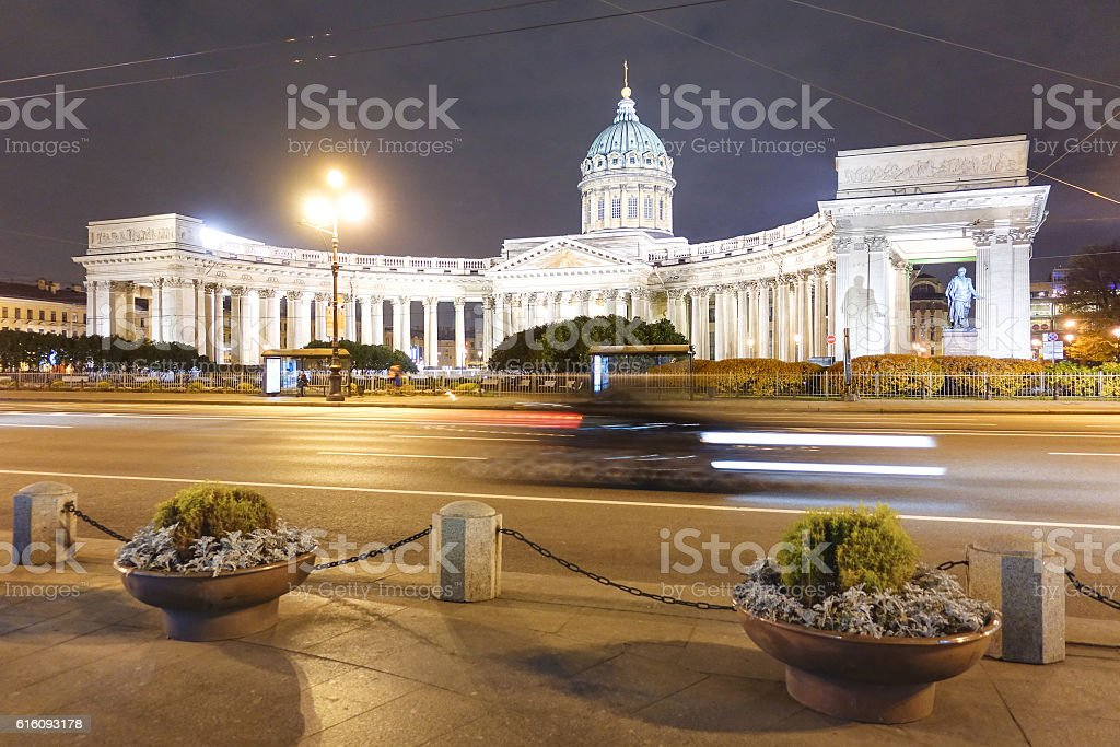 Kazan Cathedral on Nevsky Prospect in Saint Petersburg stock photo