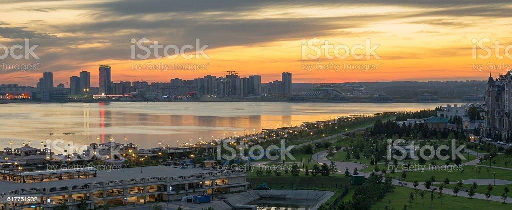 Kazan city, Tatastan, Russia. panoramic morning view stock photo