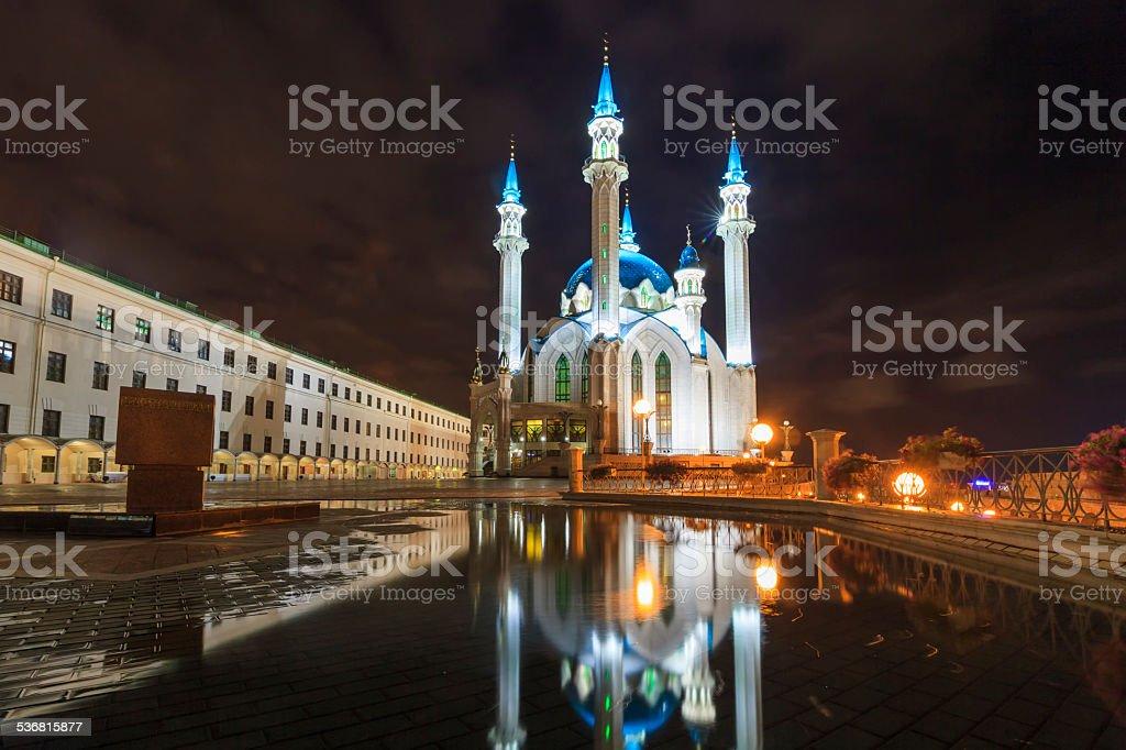 Kazan Kremlin illuminated at night. stock photo