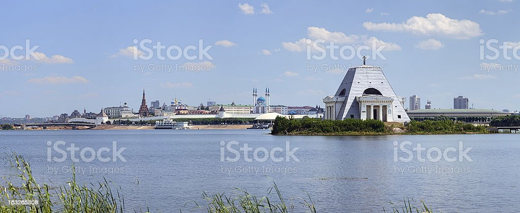 Kazanka river with Memorial Church and Kazan Kremlin royalty-free stock photo