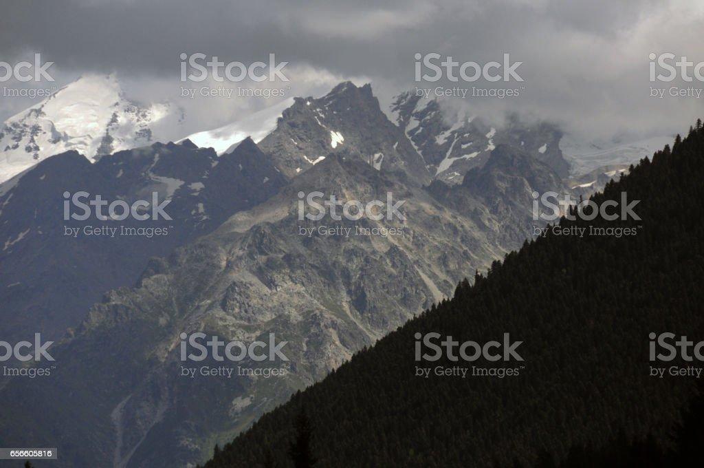 Kazbegi Mountain Range Peaks stock photo