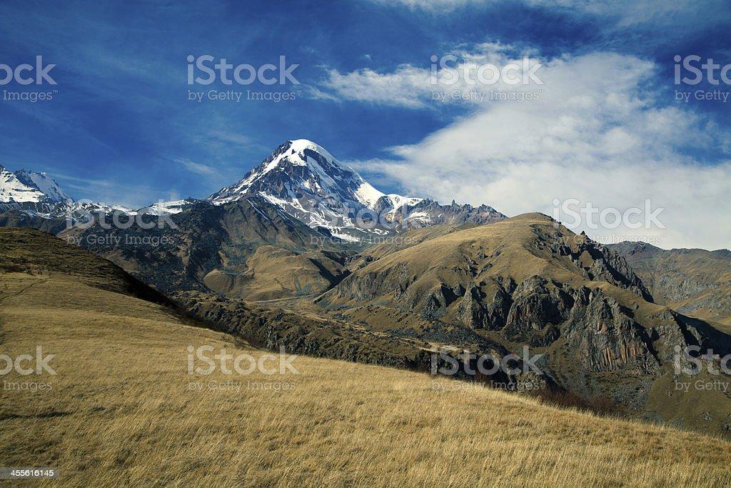 Kazbek mountain stock photo