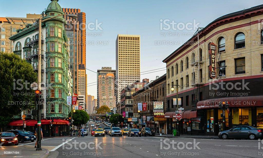 Kearny & Columbus, San Francisco, CA stock photo
