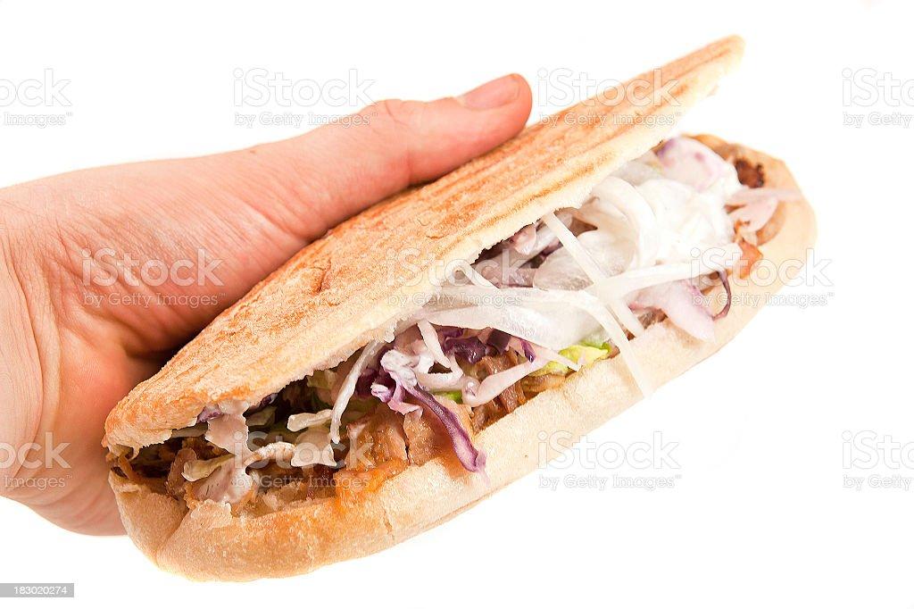 kebab in hand stock photo