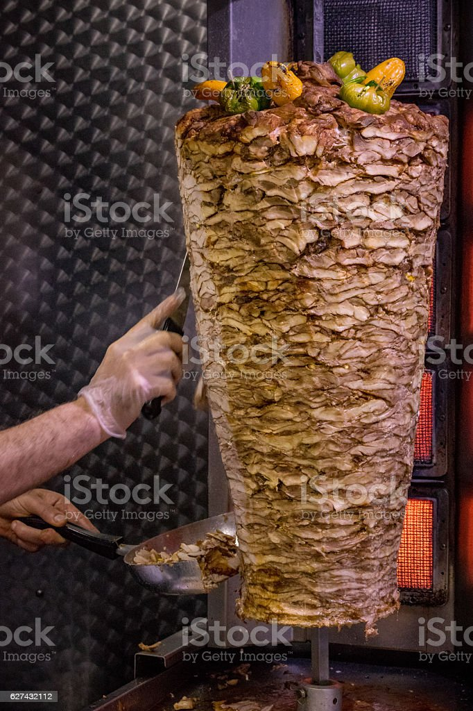 Kebab Meat. Chicken. stock photo