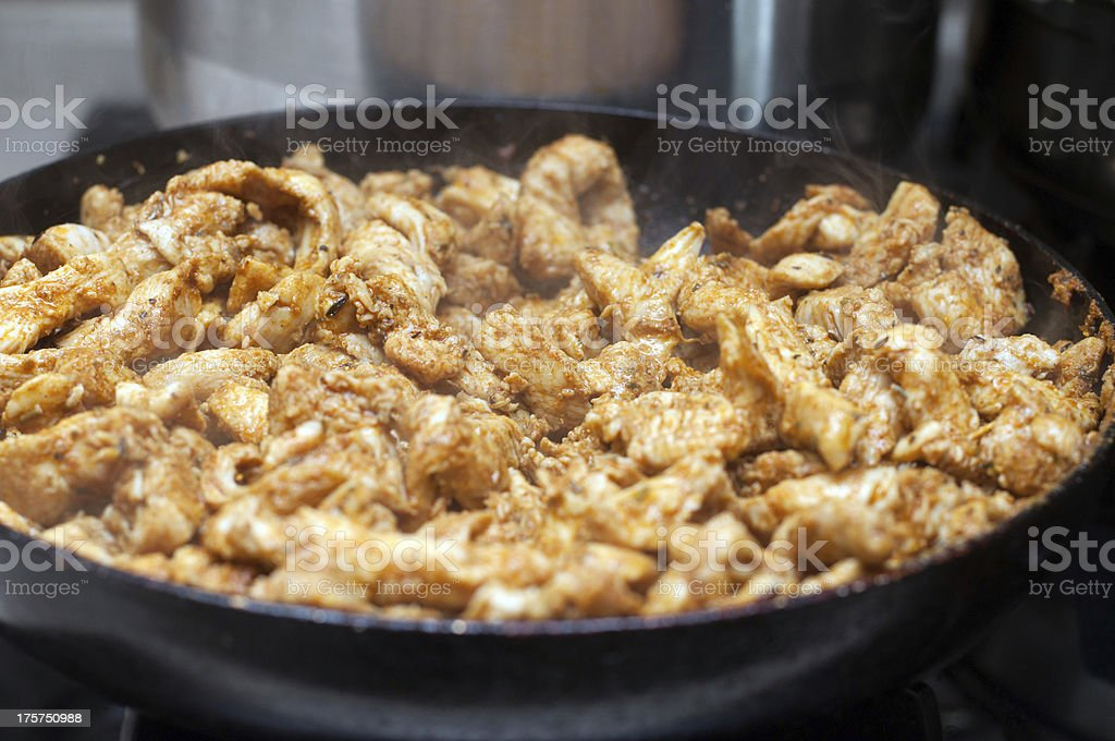 Kebab on frying pan royalty-free stock photo