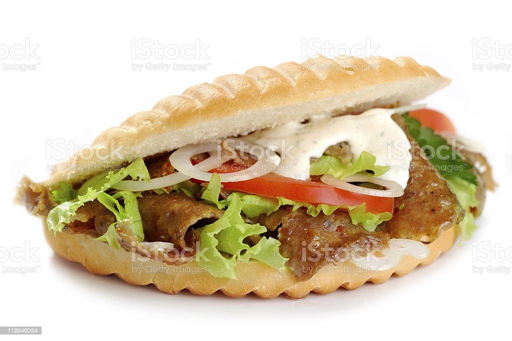 kebab sandwich stock photo