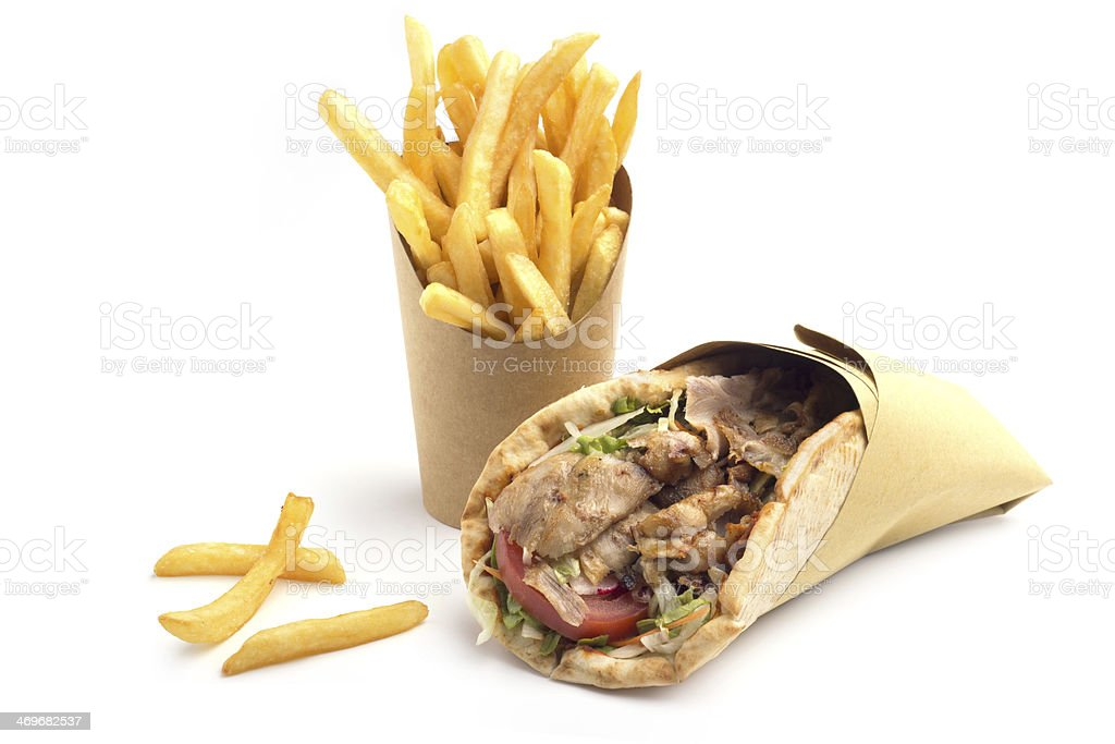 kebab sandwich with fries stock photo