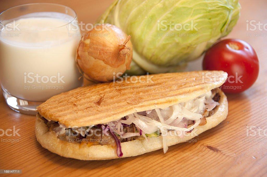 kebab with ayran on wood stock photo