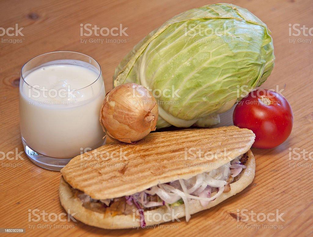 kebab with ayran stock photo