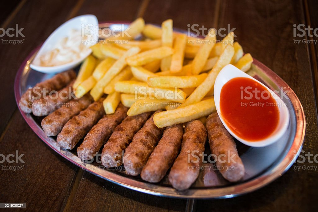 Kebab with french fries stock photo