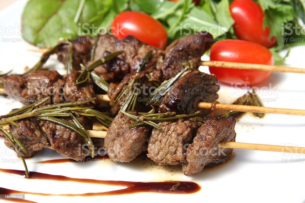 Kebab with rosmarin sauce stock photo
