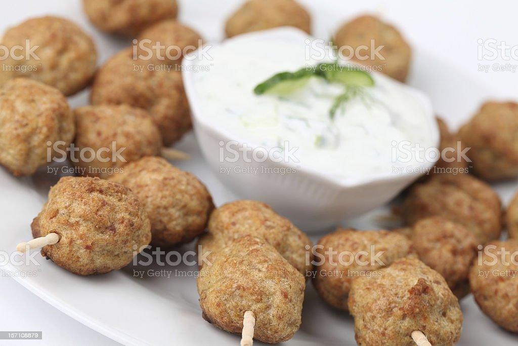 Kebab with tzatziki dip stock photo